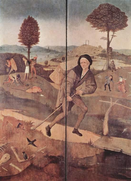 Hieronymus_Bosch Le vagabond vers 1516 Prado revers du triptyque du Chariot de foin