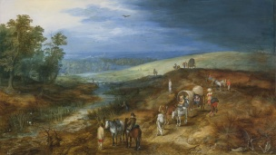 Jan Breughel the Younger 1625 ca LANDSCAPE WITH TRAVELERS AND BITTERN HUNTER coll priv