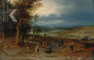 Jan Brueghel Landscape with an ambush vers 1610 Memphis Brooks Museum of Art