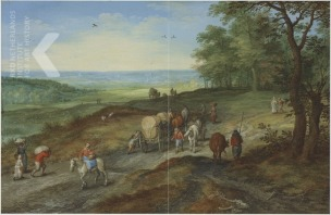Jan Brueghel Panoramic landscape with a covered wagon and travelers on a track 1612 coll privee