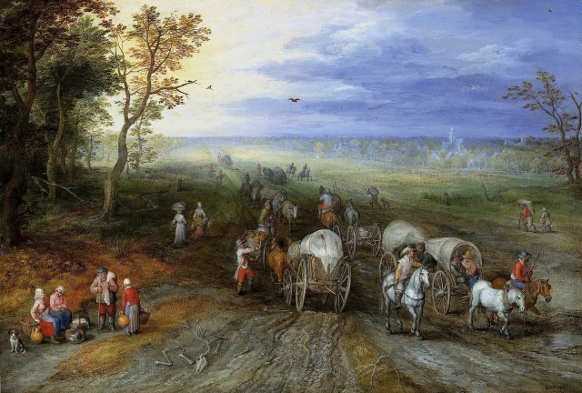 Jan-Brueghel-the-elter-1610-Landscape-with-Travellers-and-Peasants-on-a-Track-