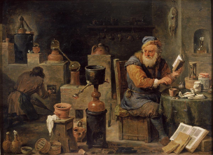 L'alchimiste_-_David_Teniers_the_Younger 1640-55 Mauritshuis