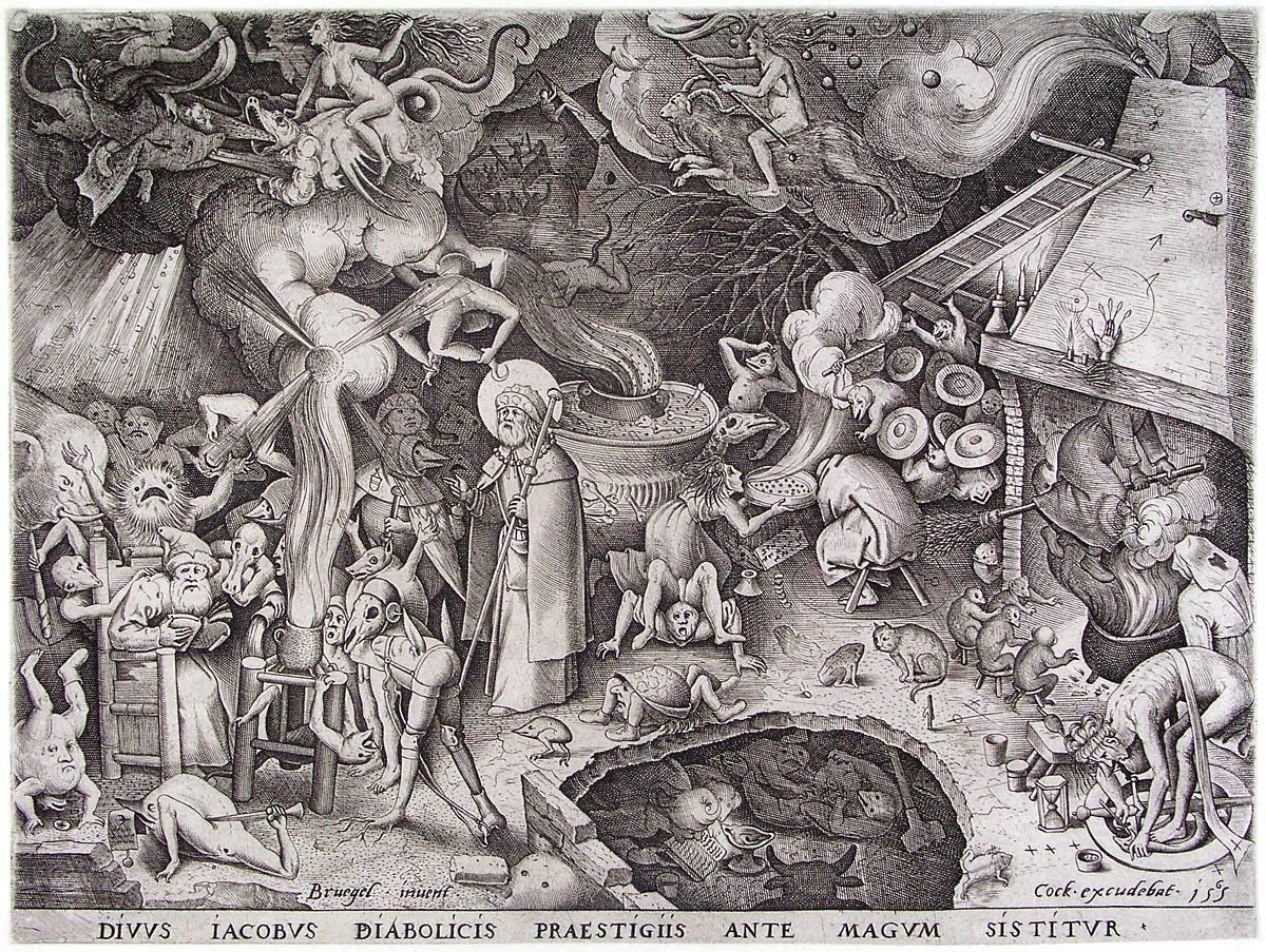 Pieter Brueghel l'Ancien, Diuus Iacobus diabolicis praestigiis ante magum sistitur, 1565