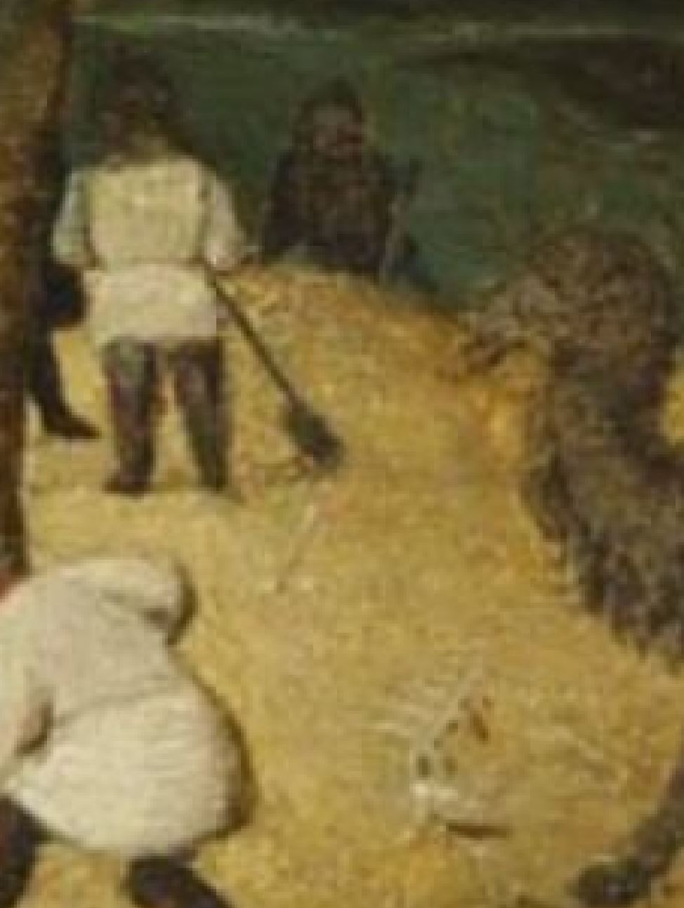 Van Eyck Portement Museum of Fine Arts, Budapest detail homme baton