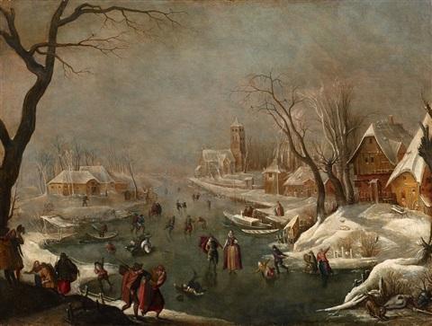 adam-van-breen-winterlandschaft-mit-zugefrorenem-kanal-und-schlittschuhlaufern coll privee