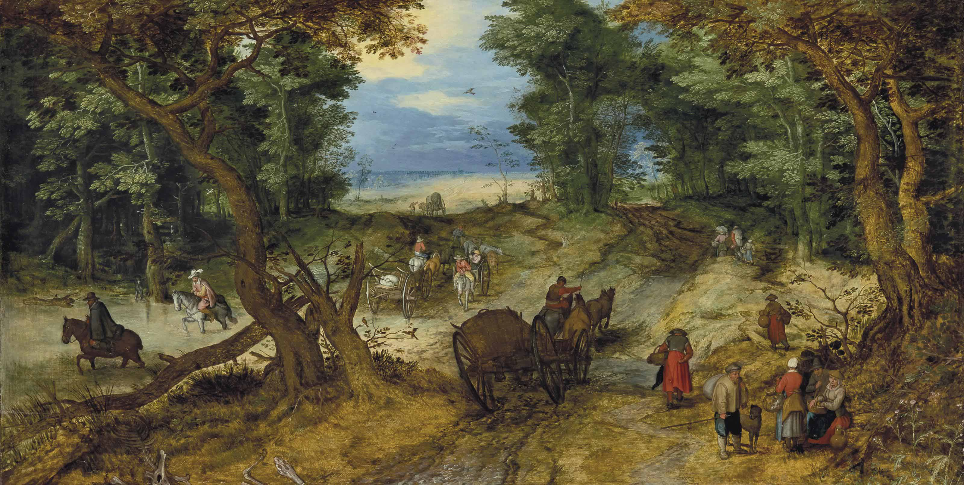 jan_breughel_l ancien _a_wooded_landscape_with_travelers_on_a_path oll privee