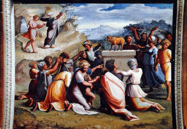 Adoration du veau d'or, Raphael et eleves, Vatican, Loge de Raphael
