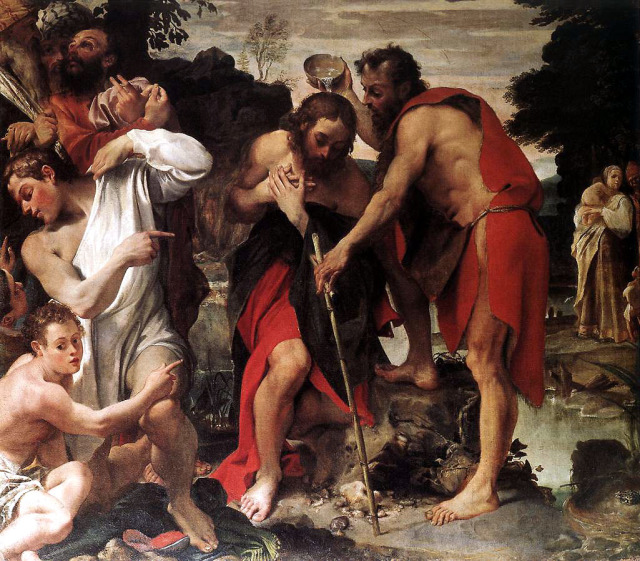 Annibale Carracci. The Baptism of Christ. 1584 San Gregorio, Bologna detail