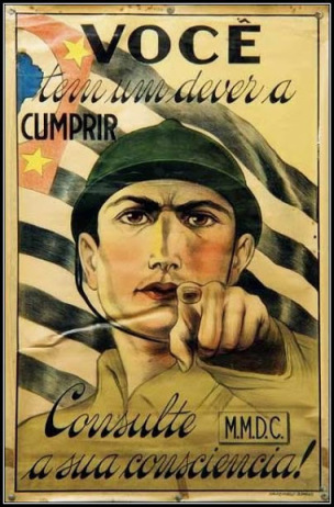 Bresil 1932 Constitutionalist Revolution recruitment poster You have a duty to fulfill. Ask your conscience 1