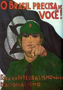 Bresil 1937 Le Bresil a besoin de toi Carte postale du Parti integraliste pro nazi (Camisa Verde)