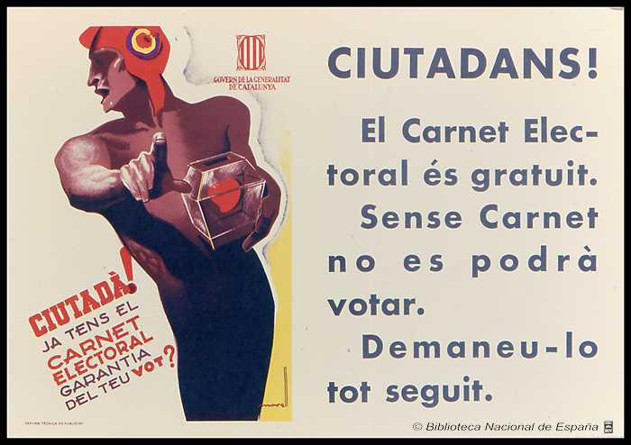 ESpagne 1935 Ciutada ja tens el carnet electoral garantia del teu vot affiche de MORELL