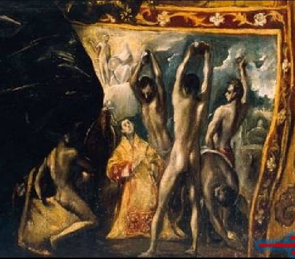 El_Greco_-_The_Burial_of_the_Count_of_Orgaz 1586-88 eglise de Santo Tome, Tolede lapidation