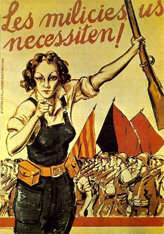 Espagne 1936 Generalite de Catalogne, Milicies us necessiten Affiche de Arteche