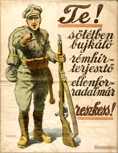 Hongrie 1919 You, gossipspreader counter-revolutionary, be afraid affiche de SANDOR KONYA