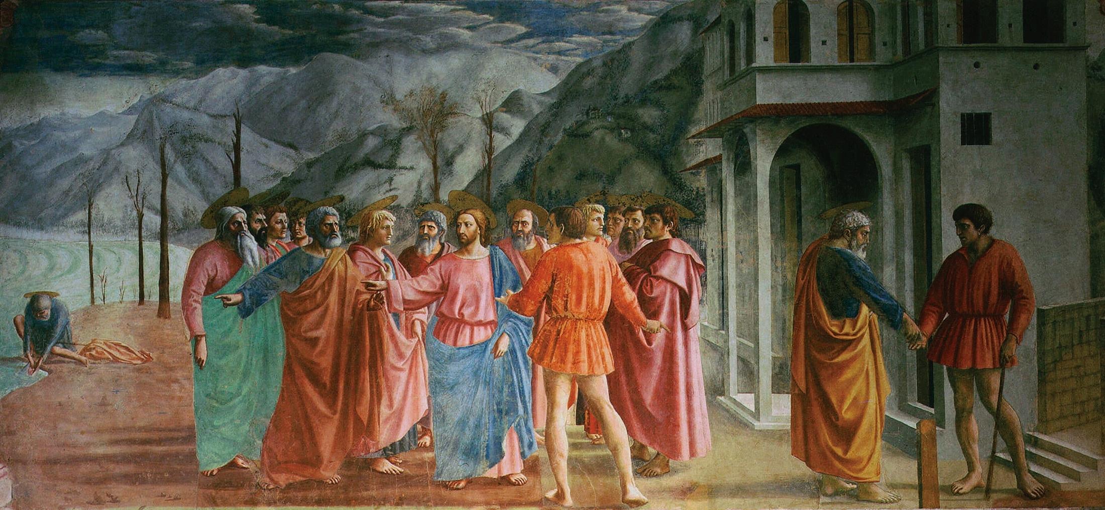 Le paiement du tribut par Masaccio 1426-27 Chapelle Brancacci eglise Santa Maria del Carmine Florence