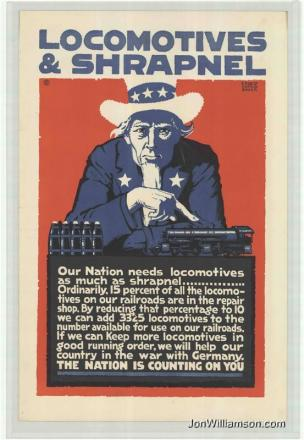 Locomotives et Shrapnel affiche de Ernest Hamlin Baker USA 1917-18