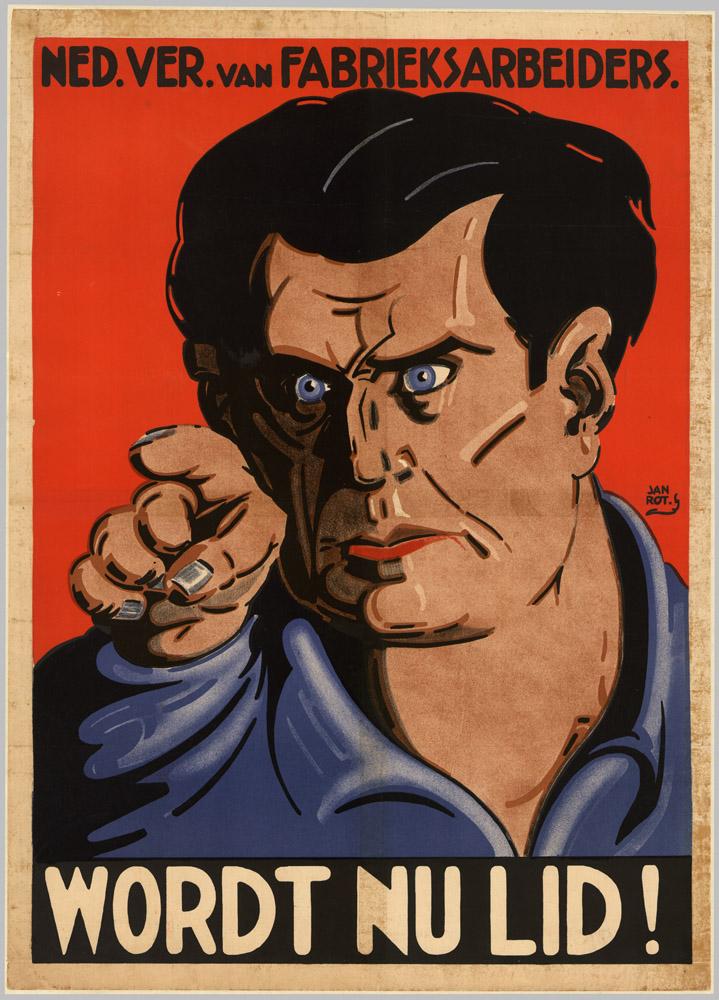 Pays-Bas 1927 Adherez maintenant Affiche de Jan Rot Nederlandsche Vereeniging van Fabrieksarbeider Syndicat des travailleurs d'usine
