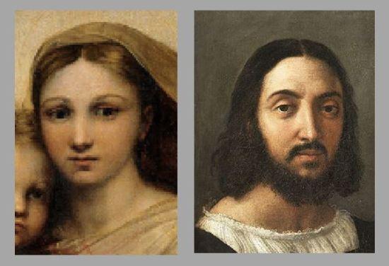 Raphael comparaison sixtine autoportrait