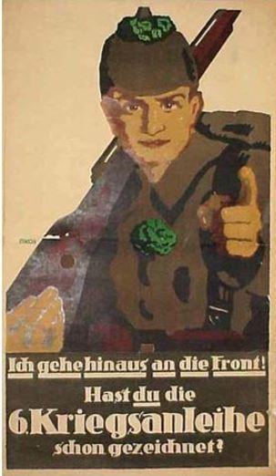 WW1 Allemagne 1917 Ich gehe hinaus an die Front. Hast du die 6. Kriegsanleihe schon gezeichnet