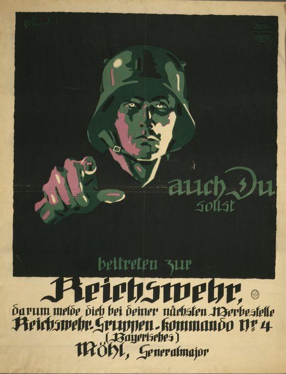 WW1 Allemagne 1919 J. U. Engelhard, Auch Du sollst beitreten zur Reichswehr, Allemagne,