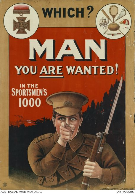 WW1 Australie 1917 You are wanted in the Sportsmen's 1000