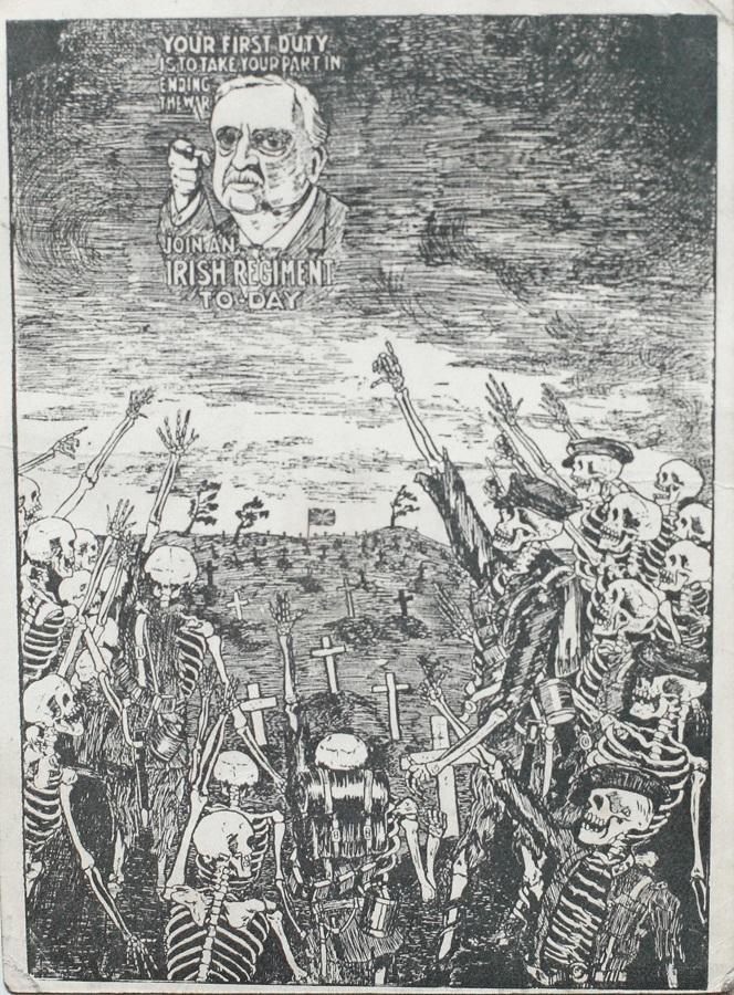 WW1 GB 1916 Anti-recruitment rish Republican Propaganda card against John Redmond I
