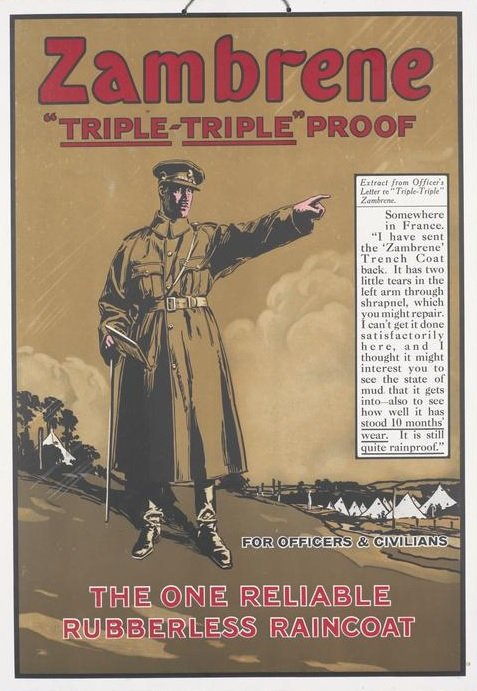 WW1 GB FOR OFFICERS and CIVILIANS THE ONE RELIABLE RUBBERLESS RAINCOAT