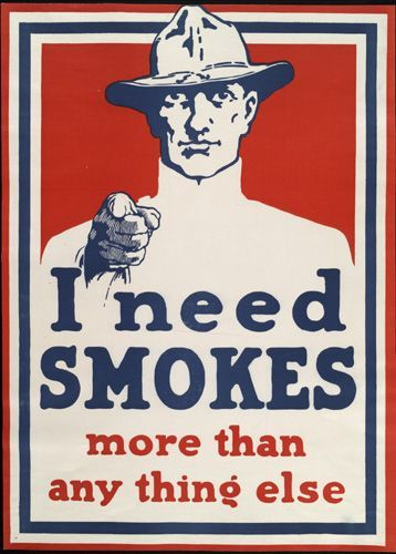 WW1 USA 1918 Poster distributed by the Our Boys in France Tobacco Fund,