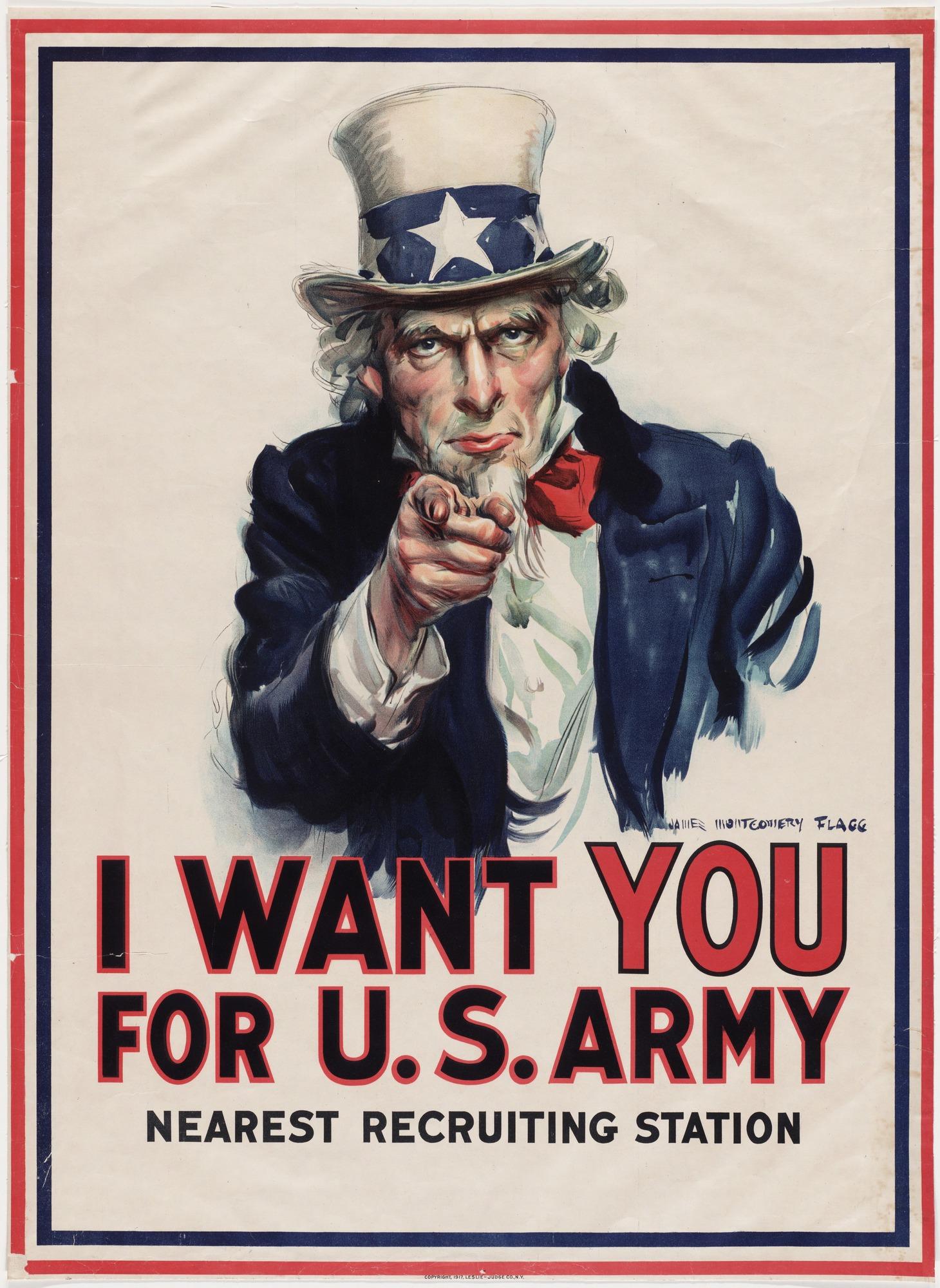 "J. Flagg, ""I want You"", US Army, 1917"