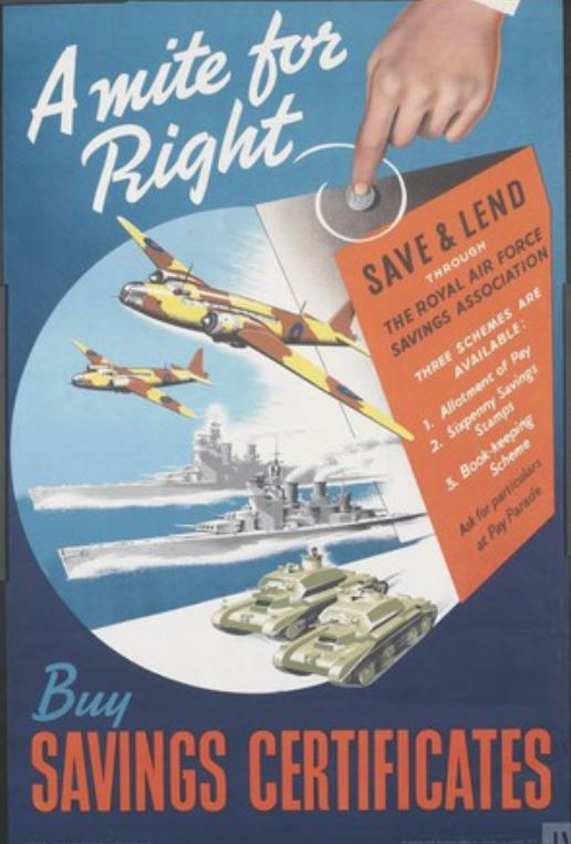 WW2 GB A mite for Right SAVE and LEND THROUGH THE ROYAL AIR FORCE SAVINGS ASSOCIATION