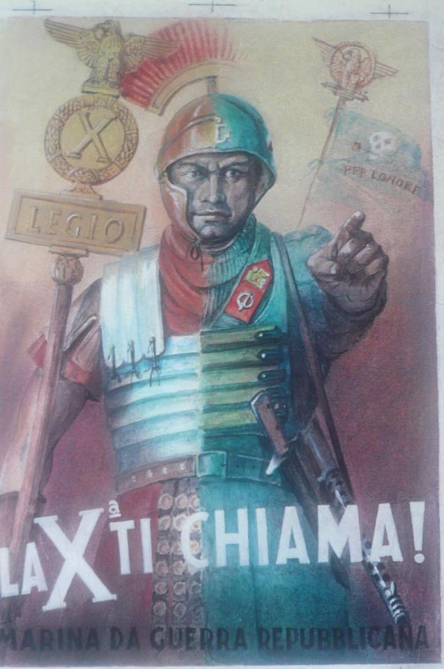 WW2 Italie 1944 Decima MAS Republique de Salo affiche de Boccasile