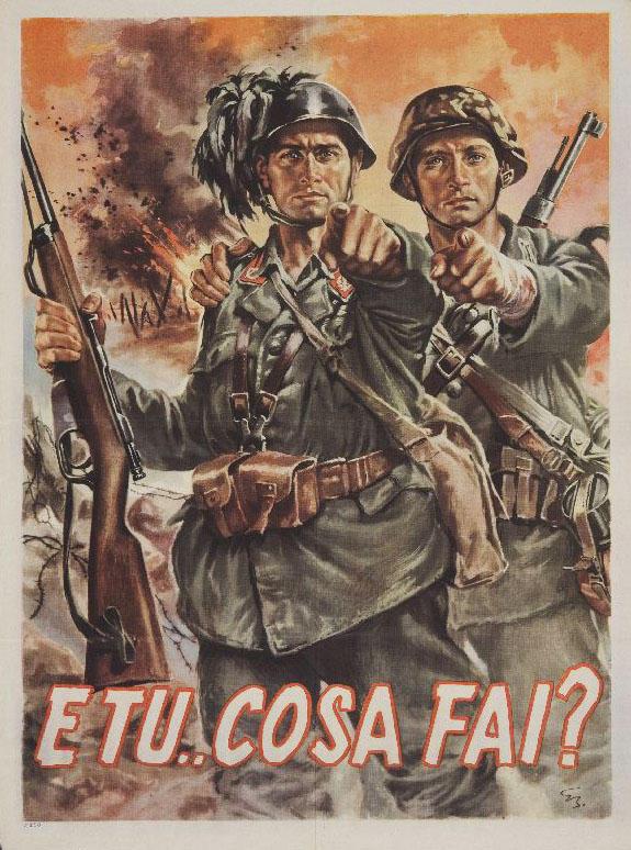 WW2 Italie 1944 E tu che cosa fai affiche de Gino Boccasile