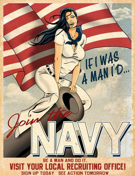 WW2 USA 1942 If I Was A Man Navy Recruiting Poster