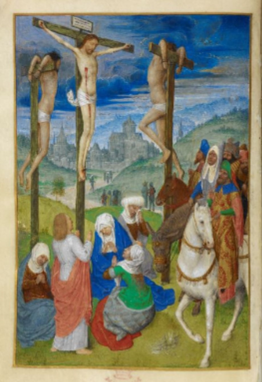 1485-90 Huth Hours BL Add MS 38126 fol 39v Simon Marmion Crucifixion