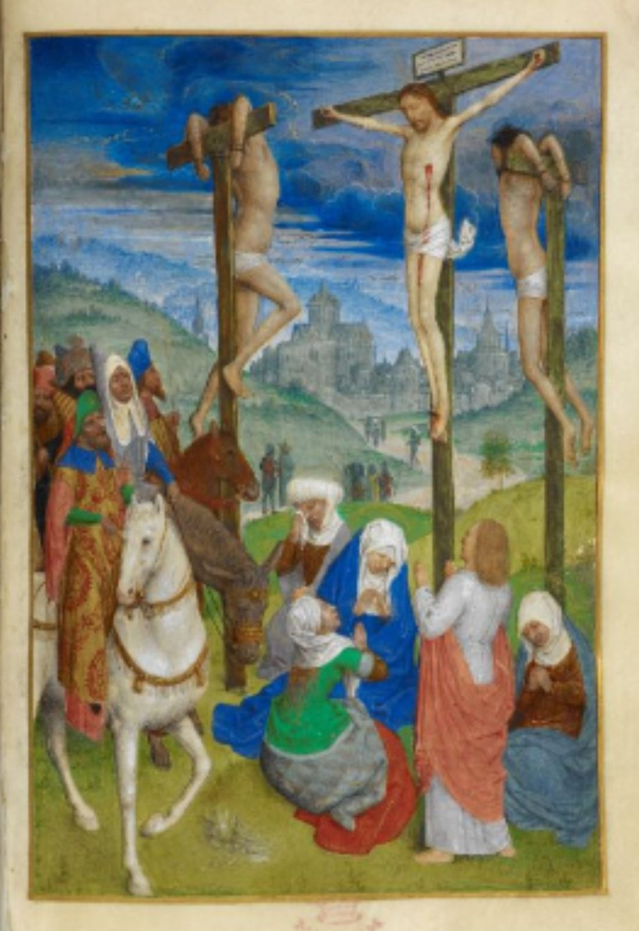 1485-90 Huth Hours BL Add MS 38126 fol 39v inverse Simon Marmion Crucifixion
