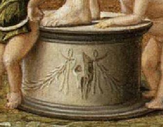 Bellini Allegoria della prudenza o della vanita – ca. 1490 Gallerie dell'Accademia, Venezia detail bucrane