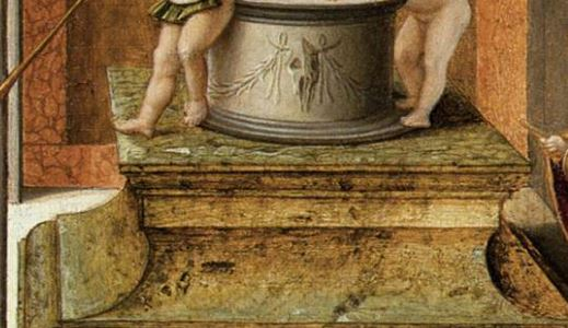 Bellini Allegoria della prudenza o della vanita – ca. 1490 Gallerie dell'Accademia, Venezia detail piedestal