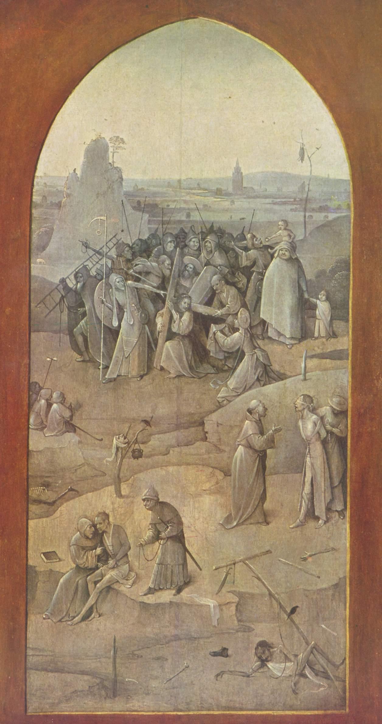 Bosch La Tentation de saint Antoine, , revers volet droit,vers 1501, Museu Nacional de Arte Antiga de Lisbonne