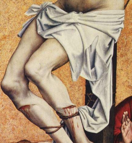 Campin Le mauvais larron v. 1430 Stadel, Francfort sur-le Main detail chemise