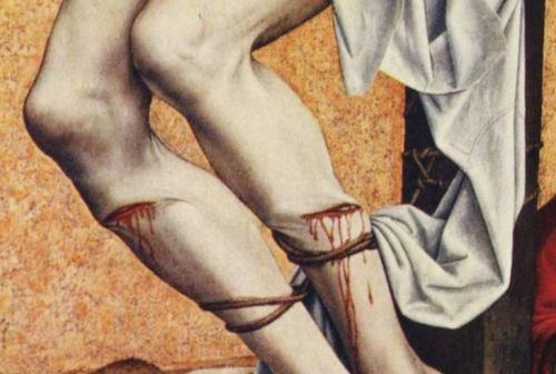 Campin Le mauvais larron v. 1430 Stadel, Francfort sur-le Main detail corde bas