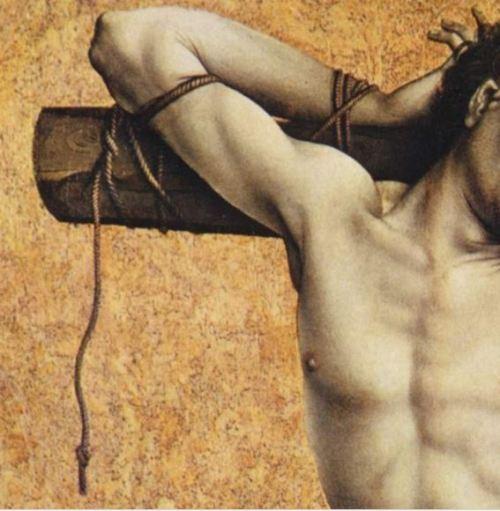Campin Le mauvais larron v. 1430 Stadel, Francfort sur-le Main detail corde haut droit
