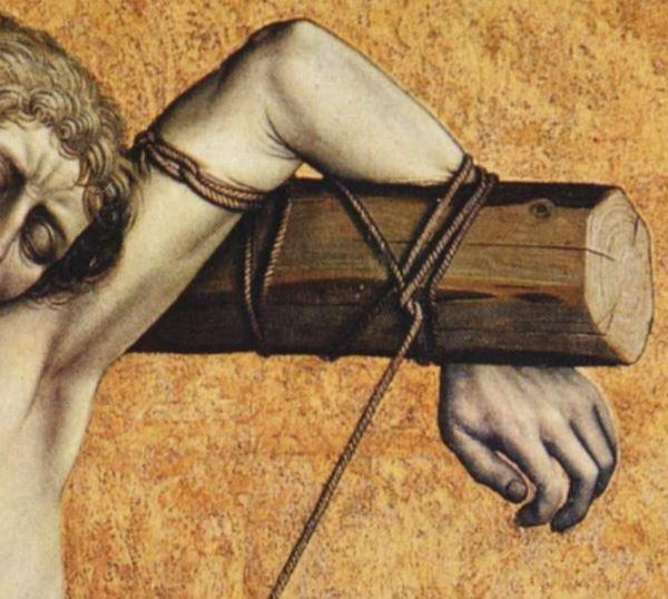 Campin Le mauvais larron v. 1430 Stadel, Francfort sur-le Main detail corde haut gauche