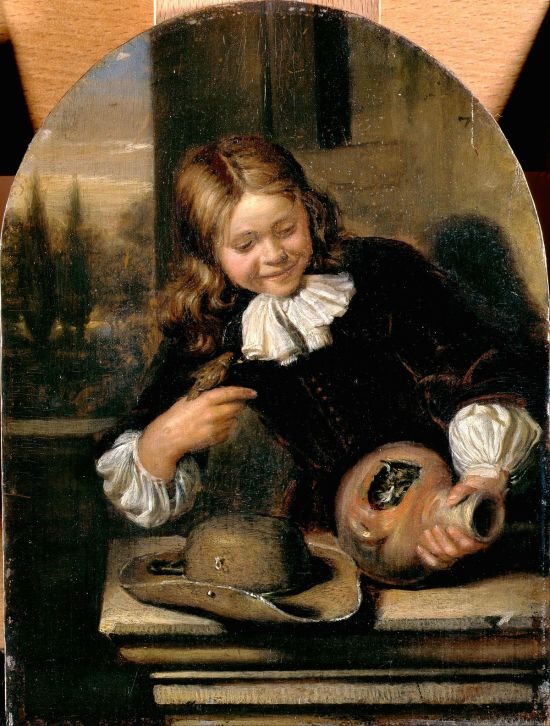 Carel de Moor (II) Boy with a goldfinch and its nest in a bird-pot vers 1700 Dulwich Picture Gallery