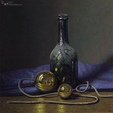 Eric de Vree Nature morte avec autoportrait dans deux boules