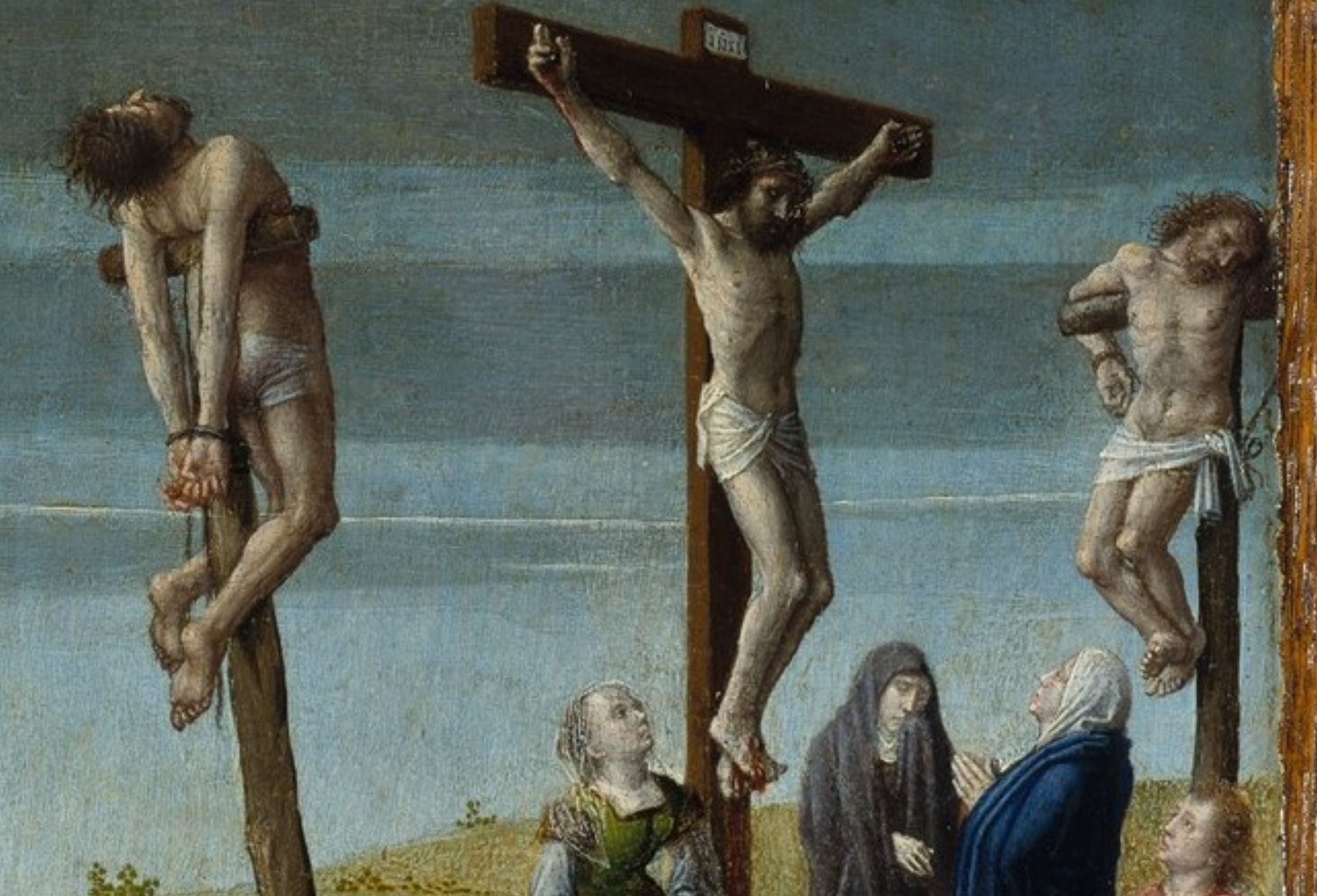 Gerard David 1510 ca Christ Carrying the Cross, with the Crucifixion MET Detail