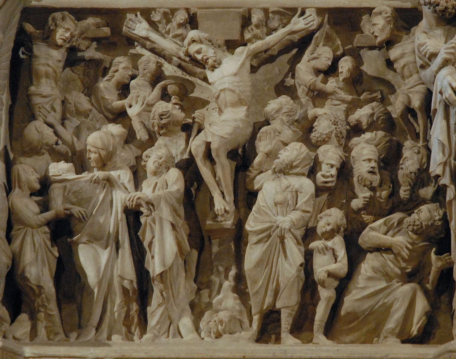 Giovanni Pisano Crucifixion 1301, Chaire de Sant' Andrea, Pistoia, by