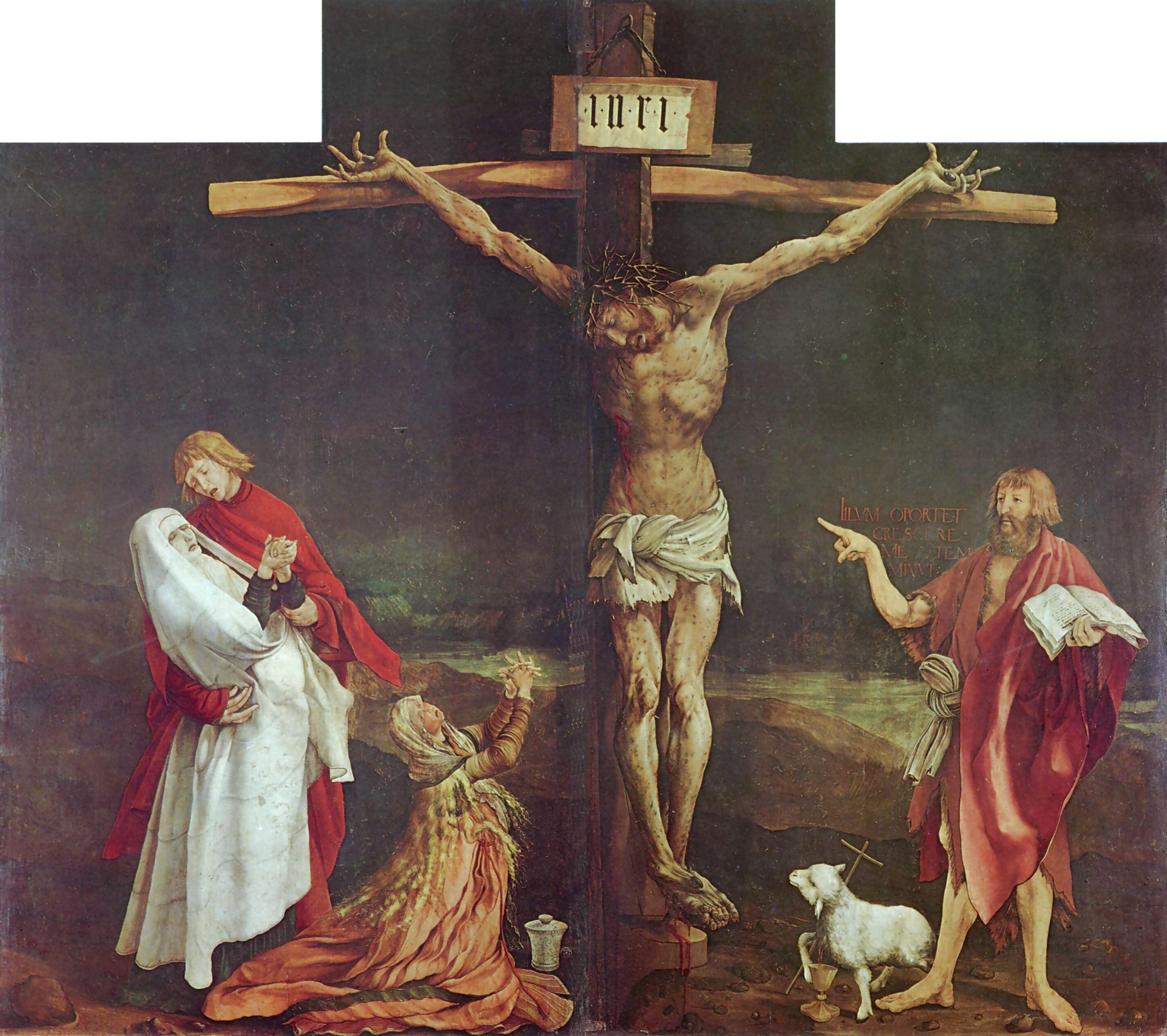 Grunewald (1512-1516 the-crucifixion-detail-from-the-isenheim-altarpiece musee Unterlinden Colmar