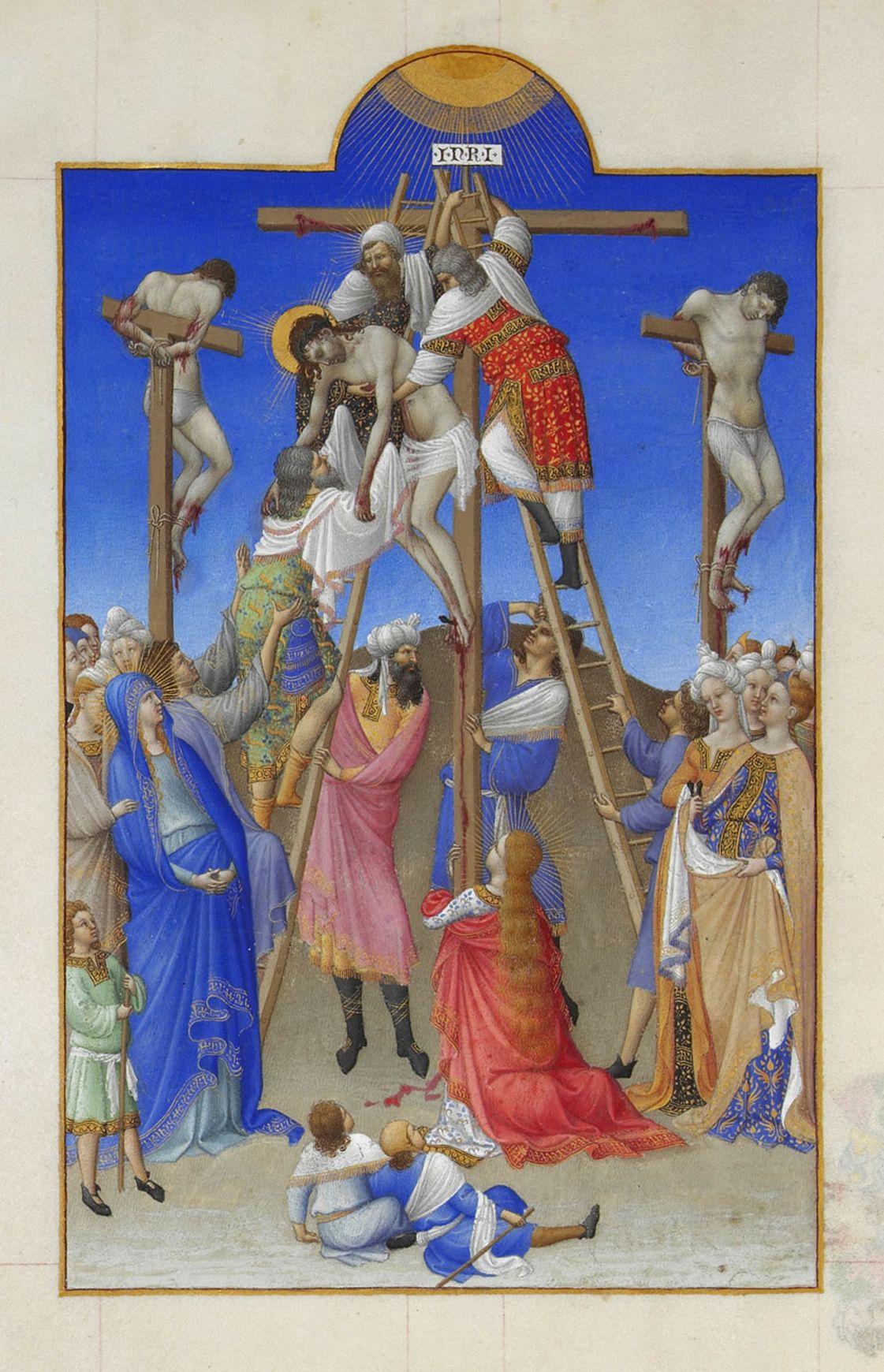 Les-Tres-Riches-Heures-du-duc-de-Berry-Folio_156v_-_The_Deposition-1411-1416