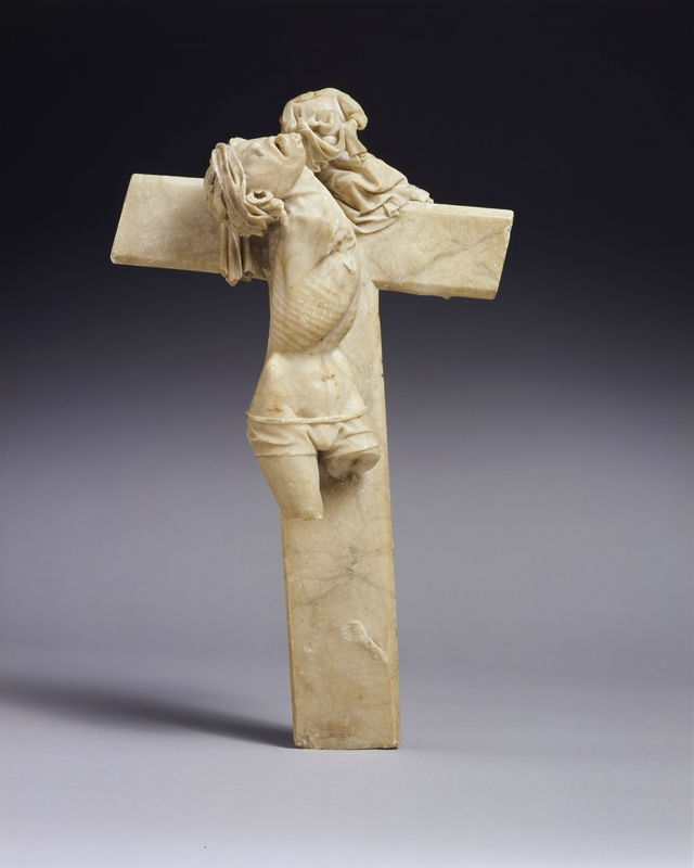 Master of the Rimini altar workshop, Thief to the right of Christ, around 1430. Alabaster Private collection