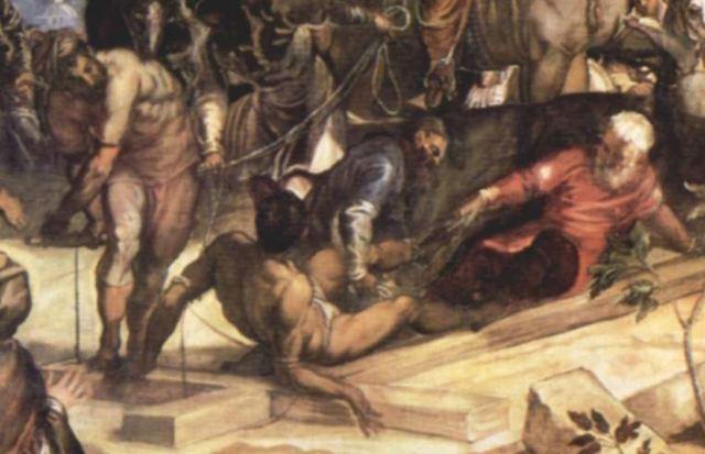 crucifixion-Tintoret 1565 Scuola Grande di San Rocco, Venice Mauvais Larron